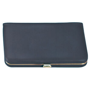 Royce Leather Framed Business Card Case Top Grain Nappa Leather Blue