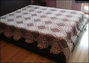 19c Antique Art Deco Hand Crocheted White Bed Cover