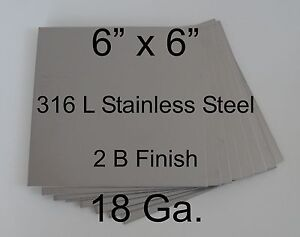 6 X 6 18 Ga 316l Stainless Steel Plates For Hho Dry wet Cell Qty 8