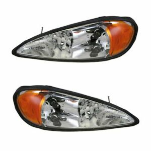 Headlights Headlamps Left Right Pair Set For 99 05 Pontiac Grand Am