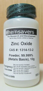 Zinc Oxide Powder 99 999 metals Basis Certified 10g