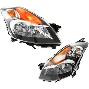 Headlight Set For 2007 2009 Nissan Altima Sedan Driver Passenger Side W Bulb