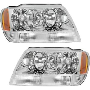 Headlight Set For 99 04 Jeep Grand Cherokee Limited Overland Chrome Interior 2pc