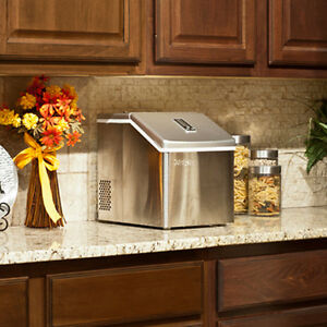Portable Clear Cube Ice Maker Compact Countertop Small Stainless Steel Machine