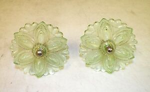 Vintage Victorian Pair 2 Of Glass Curtain Tie Backs Green 3 1 2