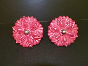 Vintage Victorian Pair 2 Of Glass Curtain Tie Backs Red Painted 3 1 2