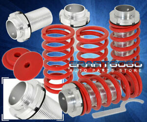 92 95 Civic Eg Adjustable Damper Coilover Silver Aluminum Sleeve Conversion Red