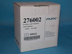 Nunc 276002 96 Well Cap Natural Non Sterile 5 bags 50 case New