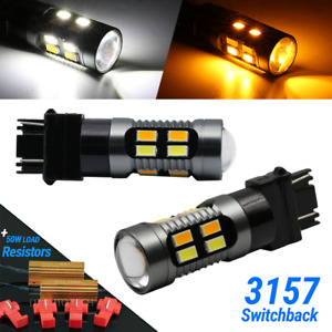 Error Free White Amber 3157 Led Drl Switchback Turn Signal Parking Light Bulbs