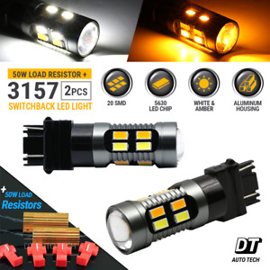 New 3157 Led Switchback Turn Signal Drl White Amber Parking Bulbs Resistors
