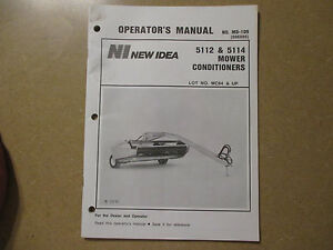 New Idea 5112 5114 Mower Conditioner Owners Maintenance Manual