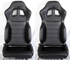 2 Black Pvc Leather Racing Seats Reclinable W Slider All Bmw New