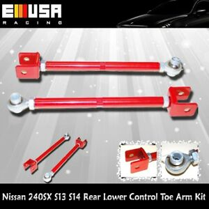 For 1989 1994 Nissan 240sx S13 S14rear Lower Control Toe Arm Kit Red