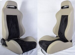 New 2 Gray Black Racing Seats Reclinable Sliders All Buick