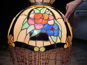 Vintage Large Stained Glass Style Plastic Floral Shade W Beads Hanging Lamp