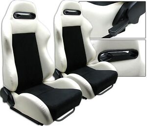 New 2 Black White Racing Seats Reclinable Ford Mustang Cobra