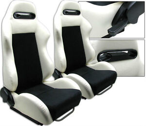 2 White Black Racing Seat Reclinable All Mitsubishi New