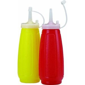 50 Ketchup Mustard Dispenser Bottle Sets Condiment With Cap Cover Red Yellow