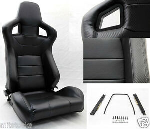 New 2 Black Pvc Leather Carbon Look Trim Racing Seat Reclinable Sliders Honda