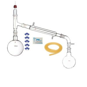 1000ml 24 29 glass Distillation Apparatus laboratory Vacuum Distill Devise Kit