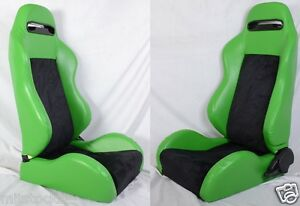 2 Green Black Racing Seats Reclinable Sliders All Bmw New