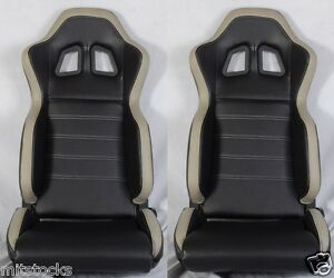 New 2 Black Gray Pvc Leather Racing Seats Slider Reclinable All Buick