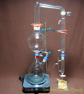 Essential Oil Steam Distillation Apparatus lab Distillation Kit w simple Stands