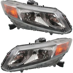 Headlight Set For 2012 Honda Civic Driver And Passenger Side W Bulb