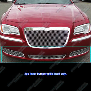 Fits 2011 2014 Chrysler 300 300c Stainless Steel Mesh Grille Grill Combo Insert