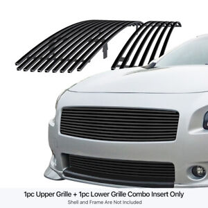 Fits 2009 2014 Nissan Maxima Black Billet Grille Grill Combo Insert