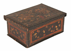 Antique Polychrome Painted Box Coffret Casket Early 19th C Or Earlier 1
