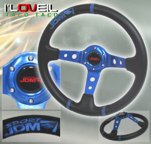 Jdm Sport 3 5 Deep Dish Steering Wheel Pvc Leather Blue Stitched For Chevy