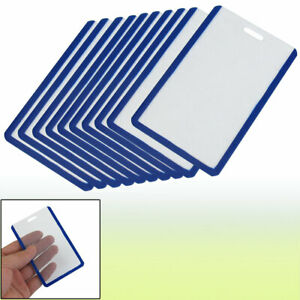 Plastic Vertical Business Id Badge Card Holder Blue Clear 10pcs