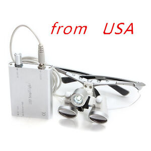 Ce 3 5x420mm Dental Surgical Medical Binocular Loupes Led Head Light Lamp usa