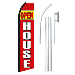 Open House Rd wht 15 Complete Swooper Flag Starter Kit Bow Feather