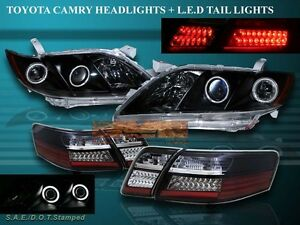 07 08 09 Toyota Camry Dual Ccfl Halo Projector Headlights Blk Led Tail Lights