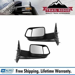 Trail Ridge Towing Mirror Manual Textured Black Pair For Dodge Ram Truck New