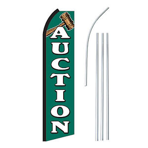 Auction Advertising Sign Swooper Feather Banner Flag Pole Only
