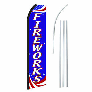 Fireworks Rwb Advertising Sign Swooper Feather Banner Flag Pole Only