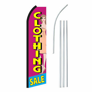 Clothing Sale Advertising Sign Swooper Feather Banner Flag Pole Only