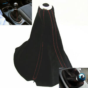 Black Suede Red Stitch Manual Auto Gear Shift Shifter Boot Cover For Hyundai Kia