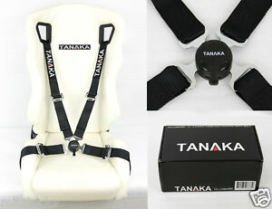 Tanaka Black 4 Point Camlock Quick Release Racing Seat Belt Harness 2 Fit Honda