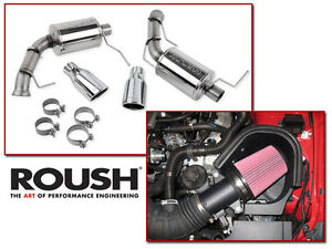 11 14 Mustang Gt 5 0 Roush Cold Air Intake Kit Axle Back Muffler Exhaust Combo