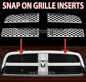 09 12 Dodge Ram 1500 Chrome Snap On Grille Overlay Grill Covers Front Inserts