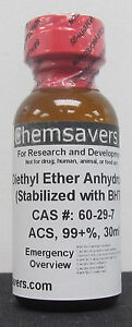 Diethyl Ether Acs 99 30ml for Photographic Applications