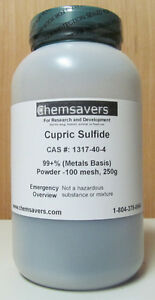 Cupric Sulfide 99 metals Basis Powder 100 Mesh 250g