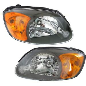 Halogen Headlight Set For 2003 2006 Hyundai Accent Left Right W Bulb s Pair