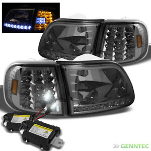 For 8000k Slim Xenon Hid Kit 97 03 Ford F150 Smk Led Headlight corner Lights