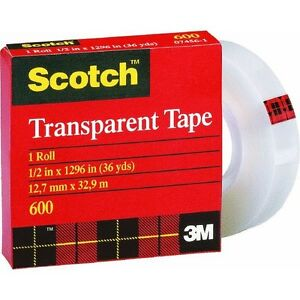 12 Pk 3m 1 2 X 36 Yd Scotch Transparent Tape 1 Core 600