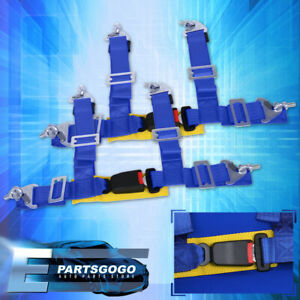 2 Pair Blue Strap Pair 4 Points Harness Racing Seat Belt Quick Snap Eye Bolts